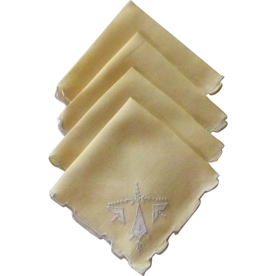 Pale Yellow Cloth Luncheon Napkins with Blue Trim
