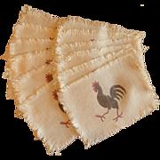 12 Rooster Beige Cloth Cocktail  Beverage Napkins