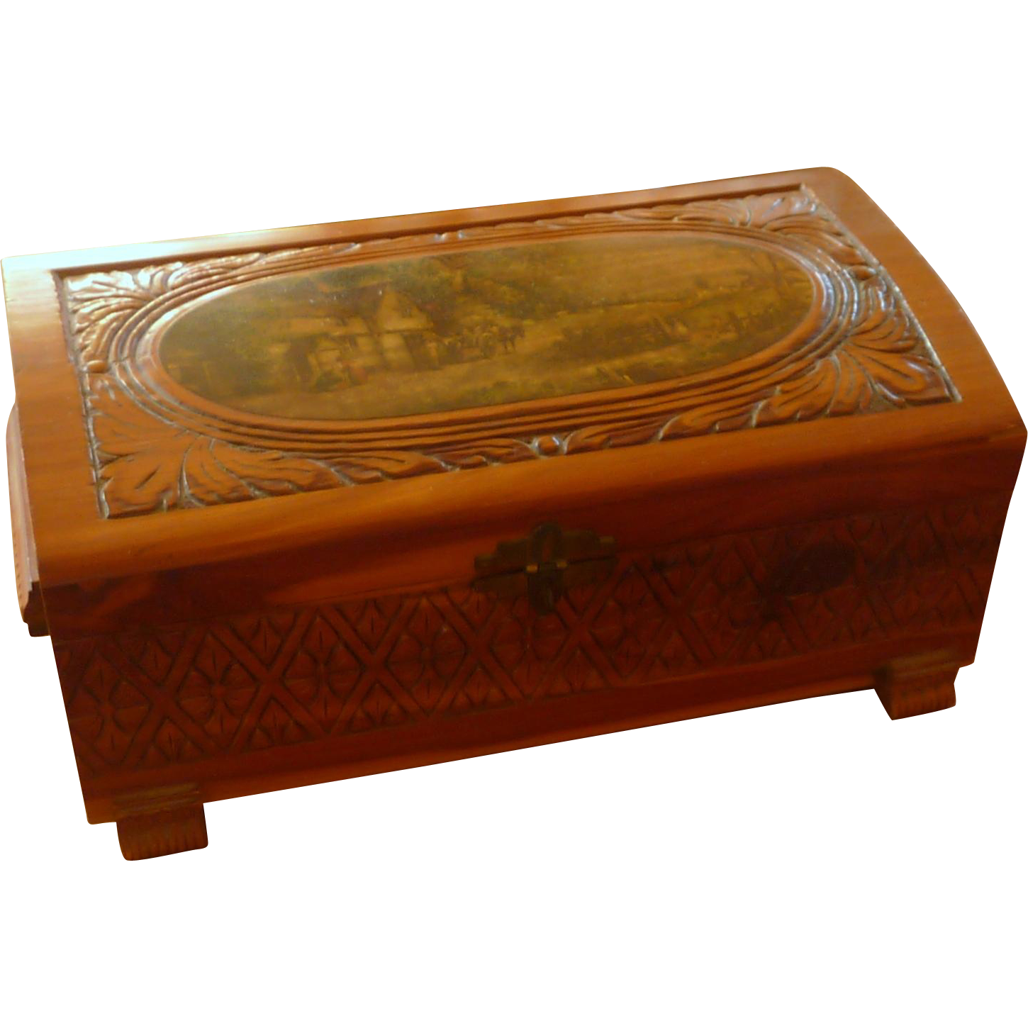 1940's Wood Cedar Box with Rounded Dome Top