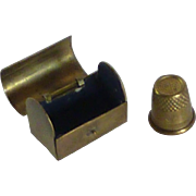 Brass Thimble Case and Thimble
