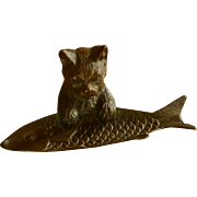 Brass Cat and Fish Cigar / Trinket / Glass Holder