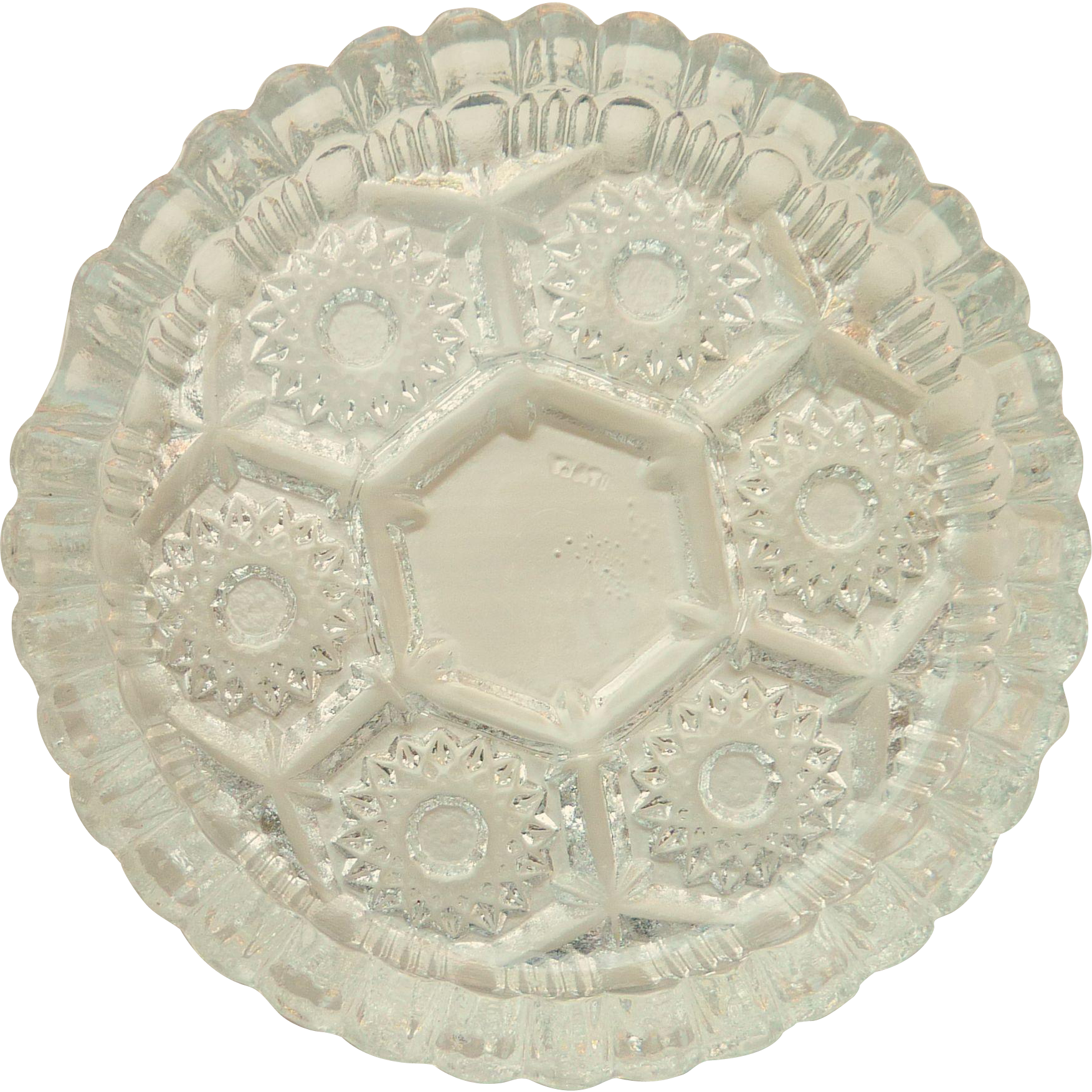 Lovely Pressed Clear Glass Ashtray from Italy