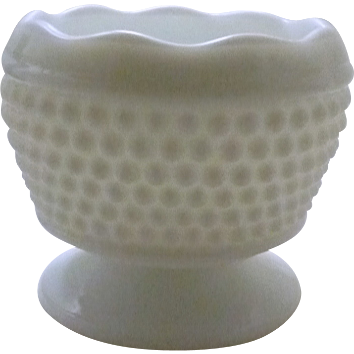 Milk Glass White Hob Nail Small Planter