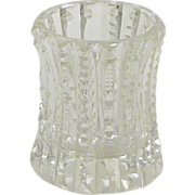 Formal Heavy Clear Cut Glass Toothpick Holder