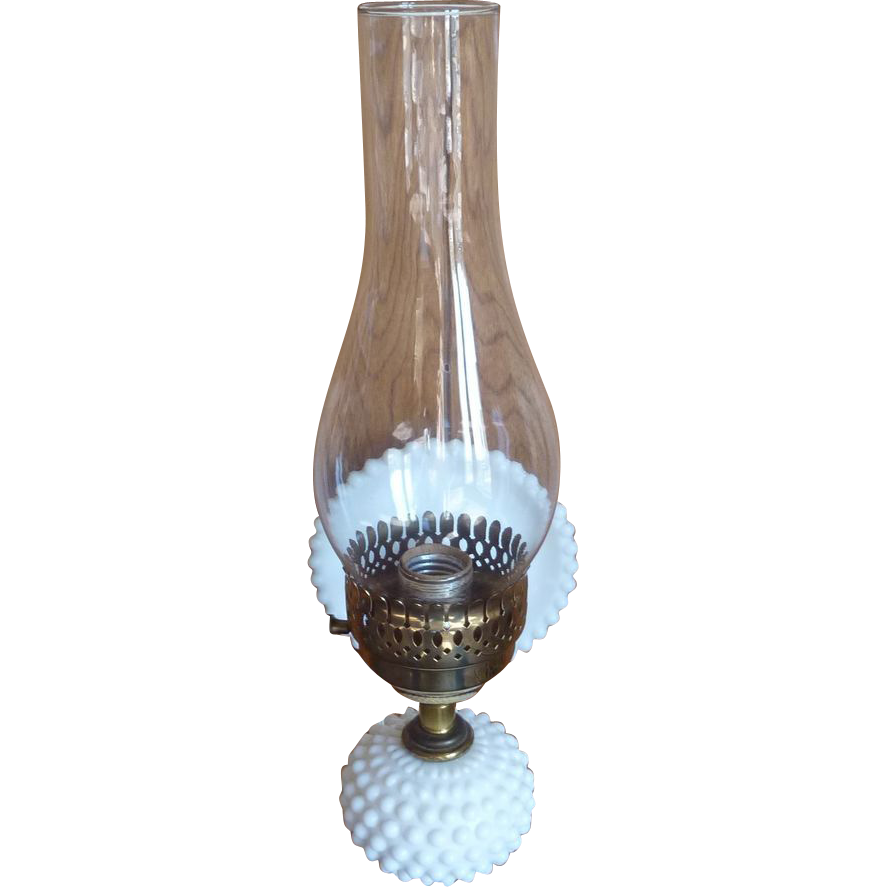 Milk Glass Wall Lamps : Hobnail Milk Glass Lamp Light Wall Lamp with Glass Chimney from rarefinds on Ruby Lane