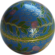 Round Ball Shaped Asian Cloisonné Brass Enamel Small Box
