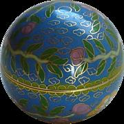 Round Ball Shaped Asian Cloisonné Brass Enamel Small Box