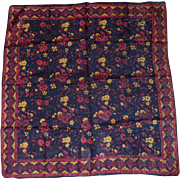 Red, Black & Gold Floral Square Silk India Scarf
