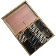 Photo Slide Wood Box with Metal and Glass Blank Slides