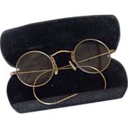 10K Gold Filled Round Wire Eyeglasses  with Case