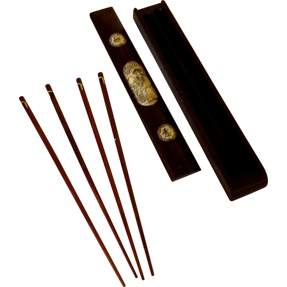 Wooden Chop Stick Box with Bone Etching & Inlaid Chopsticks