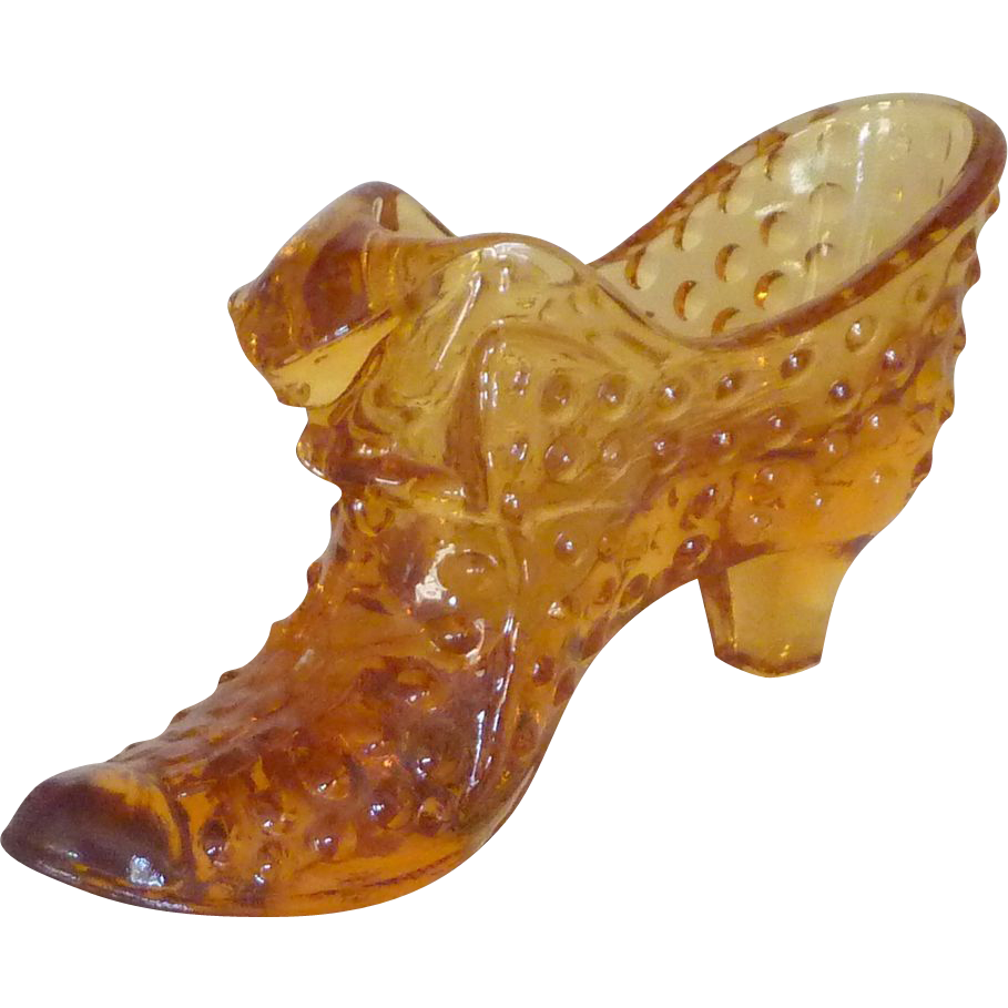 Hobnail Harvest Gold Glass Slipper Shoe with Cat