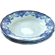 "Keeling & Co. Late Mayer ""Venice"" Pattern Blue Floral Bowls"