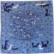 Signed Pat Prichard Cats and Dogs Handkerchief