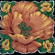 Large Orange and Yellow Poppy Handkerchief Hanky Hankie