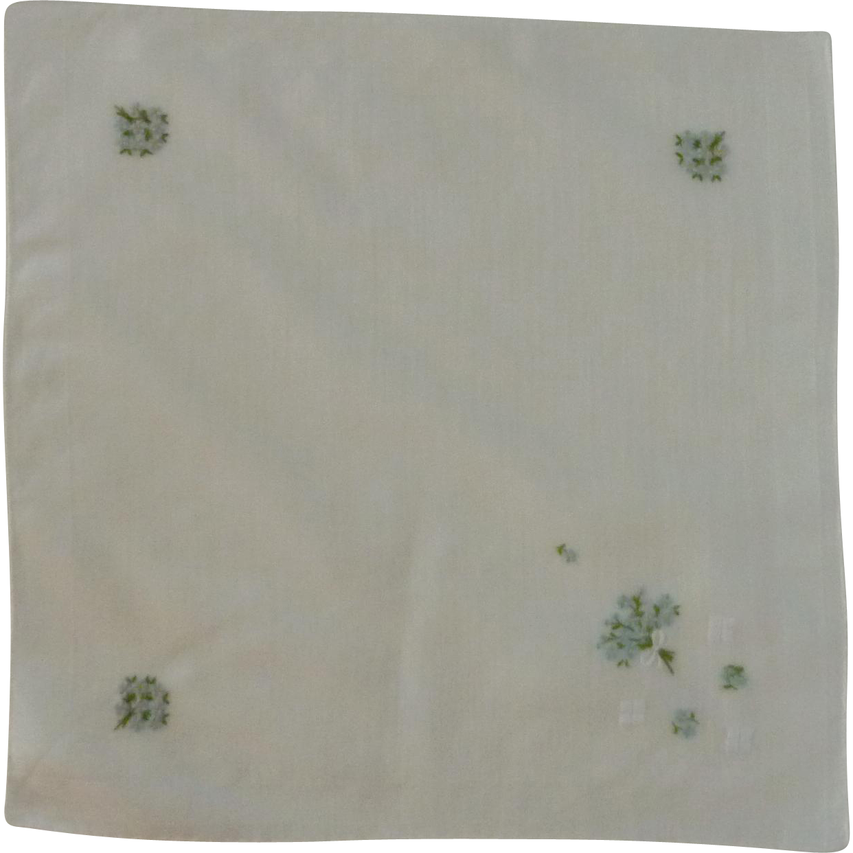 White Cotton 1930's with Blue Daisy's Handkerchief Hanky