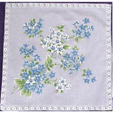 Blue & White Forget Me Knots Flower Handkerchief