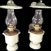 Rare Pair of Late 1800s Maritime Gimbal Bracket Ship Oil Lanterns MILLER Co. Burners