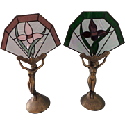 Pair (2) Brass Figural Angel Table / Bedroom Night Lights with Stained Glass Fans Loevsky & Loevsky WMC CO.