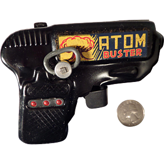 Vintage Louis Marx Co. Atom Buster Sparking Automatic Tin Toy Gun with Original Box
