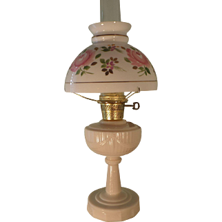 "1940s Aladdin ""ALACITE"" Tall Lincoln Drape Kerosene Oil Lamp with Pink Rose Shade Electrified"