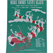 Sheet Music Here Comes Santa Claus 1947 Gene Autry Vintage Christmas Song