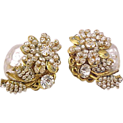 Miriam Haskell Signed Earrings Faux Pearl Rhinestone Vintage Designer Costume Jewelry