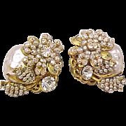 Miriam Haskell Signed Earrings Faux Pearl Rhinestone Vintage Designer Costume Jewelry