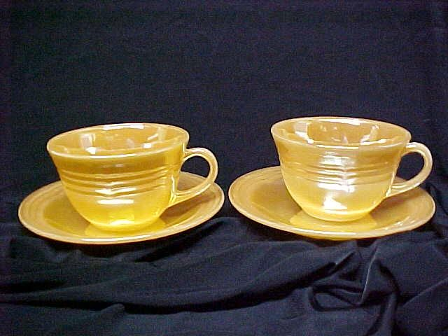 Anchor Hocking Fire King Peach Luster Two Cup Saucer Sets Vintage 1950s