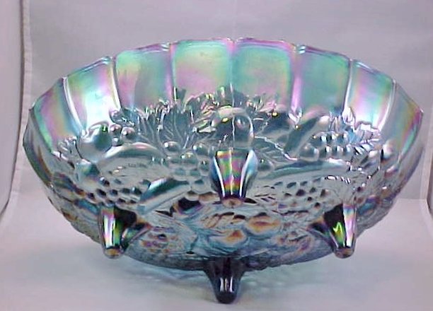 Carnival Glass Bowl Indiana Iridescent Blue Harvest (Grape & Leaf) 1970s Vintage