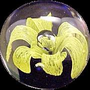 Glass Paperweight Yellow Flower Mirror Effect! Vintage