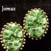 Jomaz Earrings Molded Glass Jade Green Signed Designer Vintage Circa 1949