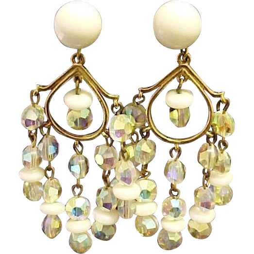 Marvella  Earrings Aurora Borealis Crystals Milk Glass Beads Signed Designer Vintage