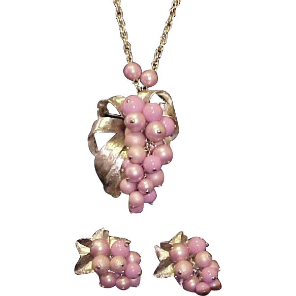 Parklane Necklace Earrings Brooch Parure Mauve Pink Signed Vintage Designer
