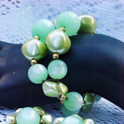Moonglow Lucite Bracelet Earrings Set Green 1950s Vintage Jewelry