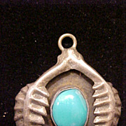 Pendant Turquoise Sterling Silver Native American Vintage 3 D Design