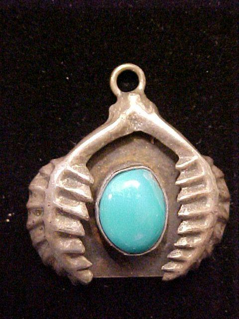 Pendant Turquoise Sterling Silver Native American Vintage 3 D Design