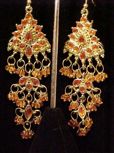 Chandelier Earrings  Show Stoppers!  Orange Rhinestone Vintage