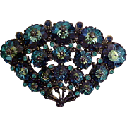 Weiss Brooch 1950s Cobalt Blue Margarita Crystals Signed Vintage Designer Jewelry