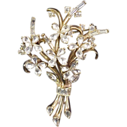 Crown Trifari Brooch Alfred Phillipe Vintage 1940s Signed Designer Jewelry