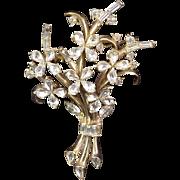 Crown Trifari Brooch Alfred Phillipe Vintage 1940s Signed Designer Jewelry