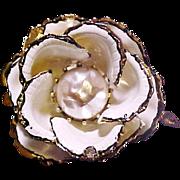 Vendome Brooch Flower Enamel Faux Pearl Signed Vintage pre 1955