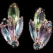 1960s Earrings Blue Green Rhinestone Vintage Jewelry