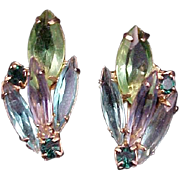 1960s Earrings Blue Green Rhinestone Vintage Jewelry