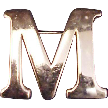 "Anne Klein Initial Brooch ""M"" Vintage 1970s Signed Designer Jewelry"