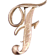 """Mamselle Initial Brooch """"F"""" Vintage 1970s Signed Designer Pin Jewelry (Larger Size)"""