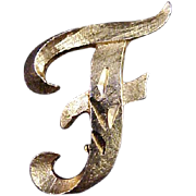 """Mamselle Initial Brooch """"F"""" Vintage 1970s Signed Designer Pin Jewelry  (Smaller Size)"""
