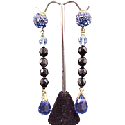 Earrings Briolette Prism Crystal Drop Dangle Cobalt Blue Glass Vintage