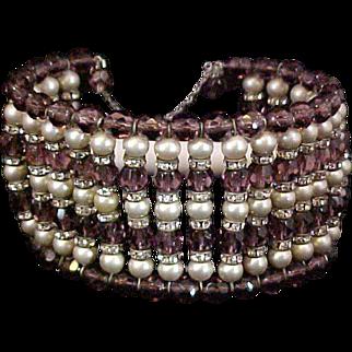 """Vintage Memory Bracelet Brown """"Root Beer"""" Beads Faux Pearls Rhinestones 1950s"""