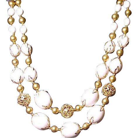 Deauville Necklace Choker Fancy Capped and Filigreed Beads Vintage